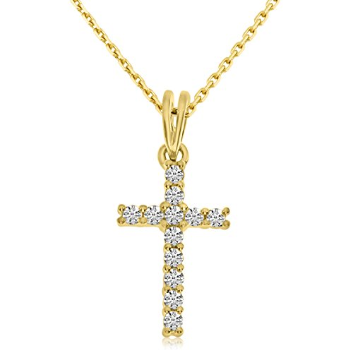 14k Gold Mens Diamond Cross (14K Yellow Gold Diamond Cross Pendant with 18