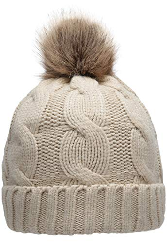 Lined Beanie - NEOSAN Women's Winter Ribbed Knit Faux Fur Pompoms Chunky Lined Beanie Hats Twist Khaki