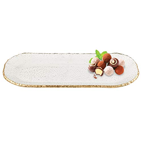 Blown Glass Platter - Badash Goldedge Collection Mouth Blown Textured Glass Oval Platter 18 x 6.5 inches
