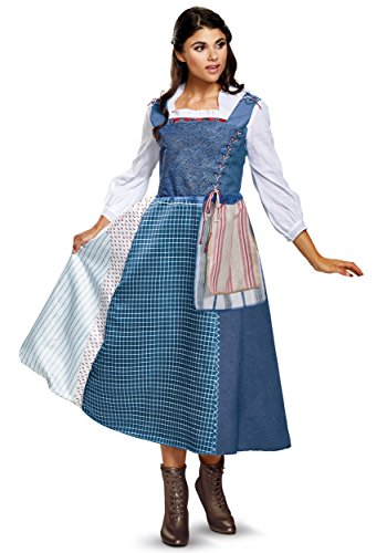 [Disney Women's Belle Village Dress Deluxe Adult Costume, Multi, Medium] (Belle Halloween Costumes For Adults)