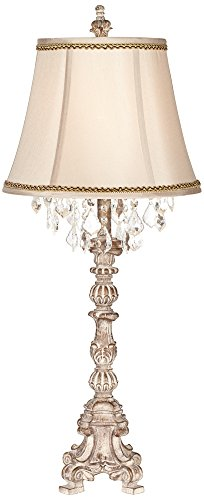 Duval French Crystal Table Lamp with Brown and Gold Trim For Sale
