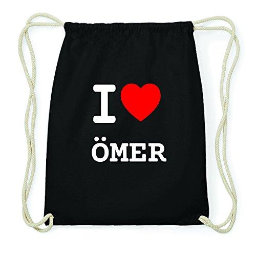 JOllify ÖMER Hipster Turnbeutel Tasche Rucksack aus Baumwolle - Farbe: schwarz Design: I love- Ich liebe
