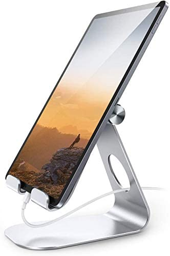 "Tablet Stand Adjustable, Lamicall Tablet Stand : Desktop Stand Holder Dock Compatible with Tablet Such as iPad Pro 9.7, 10.5, 12.9 Air Mini 4 3 2, Kindle, Nexus, Tab, E-Reader (4-13"") - Silver"