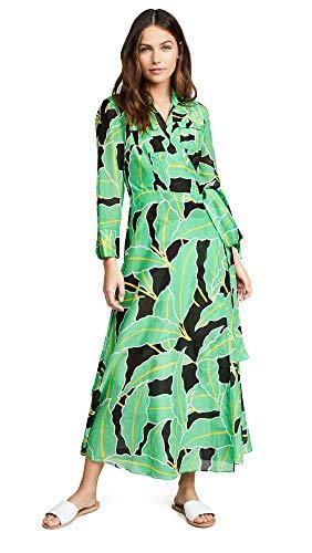 Dress Wrap Silk Dvf (Diane von Furstenberg Women's Floor Length Wrap Dress, Windsor Palm Giant Vetiver, Green, Print, Small)