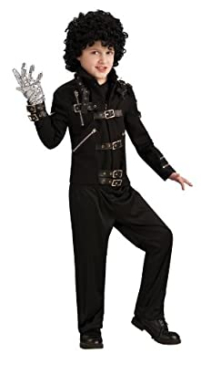 Michael Jackson Costume Childs Bad Black Buckle Jacket Costume from Rubies