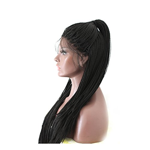 PlatinumHair synthetic handmade collection long braided lace wig for black women #1b 24inches (Braided Hair Wigs)