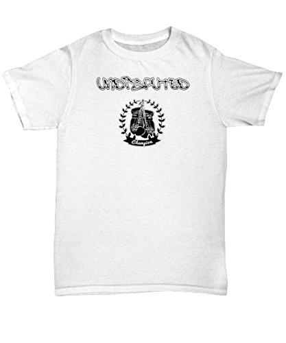 Undisputed Champion Hook Gloves Sports Gym Boxing Inspirational T-Shirt White, Grey (M, White) - Inspirational Adult Tshirt