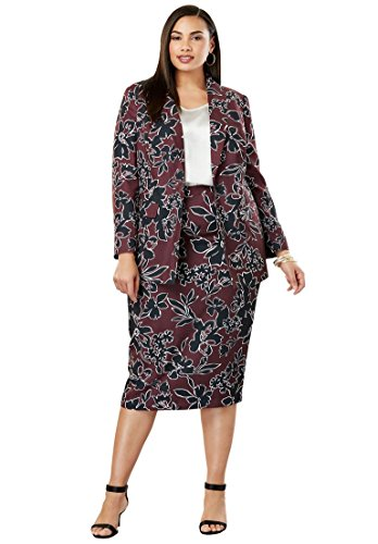 's Plus Size Single-Breasted Skirt Suit - Deep Merlot Outlined Floral, 26 ()