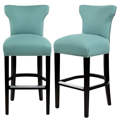 Sole Designs Bella Collection Modern SACHI Upholstered Counter-height Bar Stool Aqua