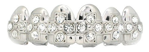 Top Row Cz Cross Embossed Hiphop Bling Grillz Silver Tone by L & L Nation
