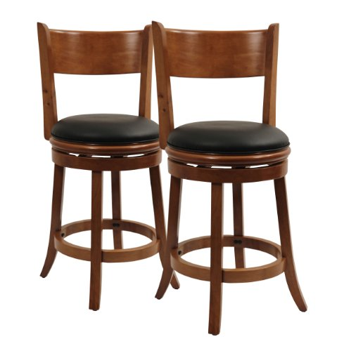 Boraam 5124 Palmetto Counter Height Swivel Stool, 24-Inch, Fruitwood Finish, (Palmetto 29