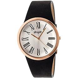 Simplify Men's SIM2005 The 2000 Leather Watch, Black/White/Rose