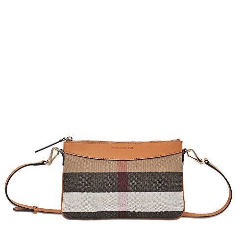 Burberry Women's Small Canvas Check and Leather Clutch Bag Beige Brown