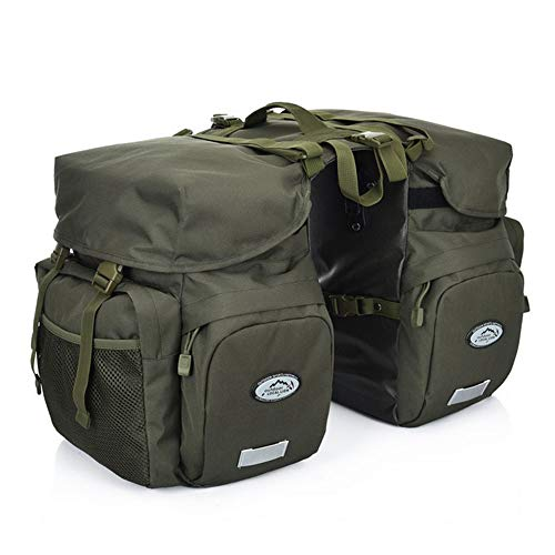 ZTZ Canvas Cycling Bicycle Bike Pannier Rear Seat Bag Rack Trunk (Waterproof, Roll-Up) (Army Green)