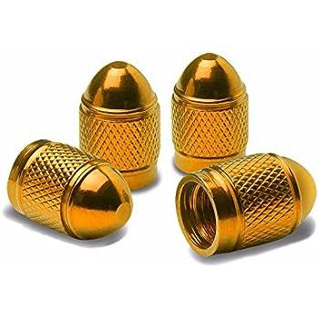 8 Pieces Bullet Style Rim Valve Tire Air Port Cover Stems Cap Black+Gold