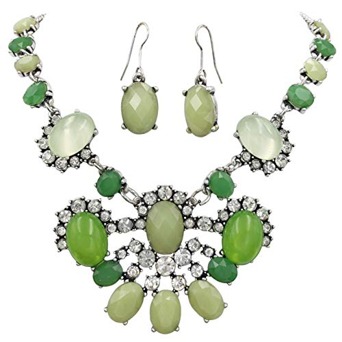 Gypsy Jewels Bold Statement Unique Funky Chunky Big Large Popular Necklace & Earrings Set (Abstract Green Silver Tone) ()