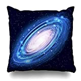 Decor.Gifts Throw Pillow Covers Andromeda Blue Space Glowing Galaxy Abstract Universe Spiral Cosmos