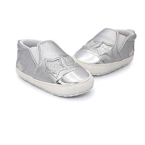 Igemy 1 Paar Baby Mädchen Jungen Herzförmige Stickerei Hight Cut Schuhe Sneaker Anti-Rutsch Soft Sole Kleinkind Silber