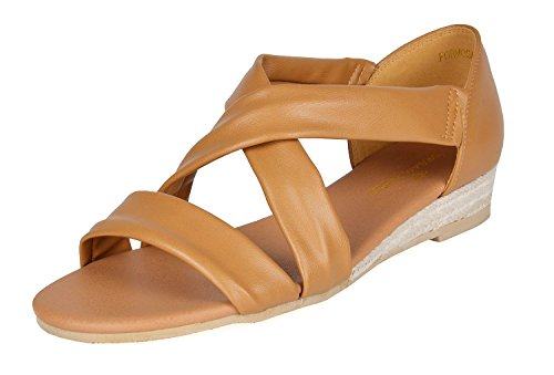 - DREAM PAIRS Women's Formosa_8 Camel Low Platform Wedges Crossover Sandals Size 8.5 B(M) US