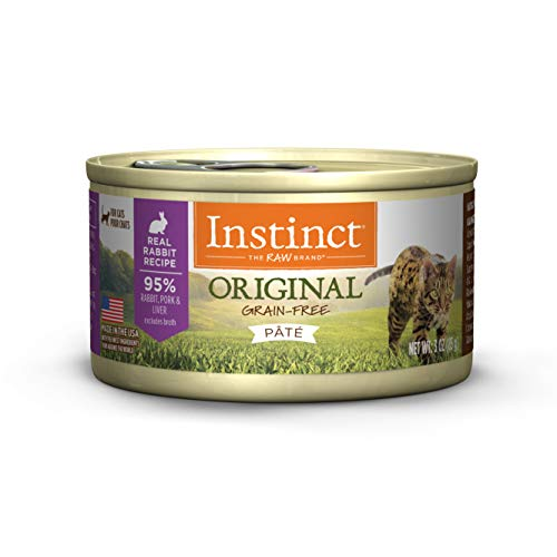 Instinct Original Grain Free Real Rabbit Recipe Natural Wet Canned Cat Food by Nature's Variety, 3 oz. Cans (Case of - Grain Cat Rabbit Food Free