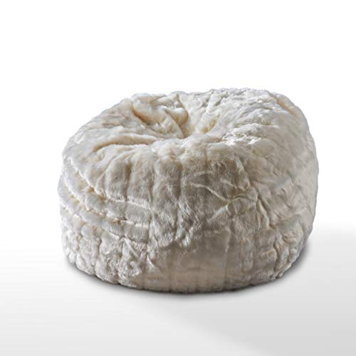 Great Deal Furniture 304238 Laraine Furry Glam White Faux Fur 3 Ft. Bean Bag,