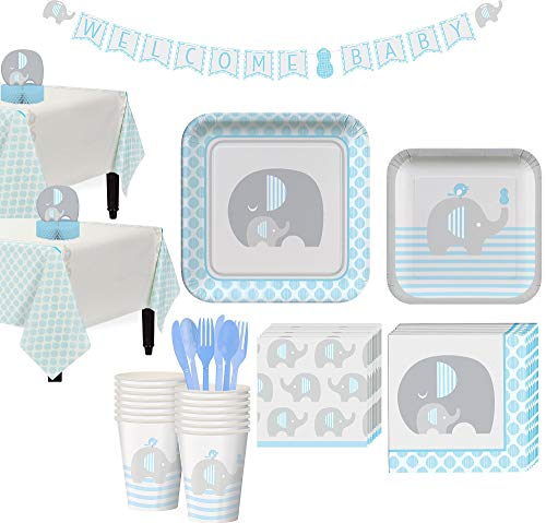 Party City Blue Baby Elephant Tableware Kit for