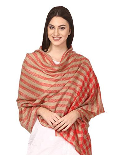 Womens Luxury Wool Check Scarf, Soft Pashmina Scarf Stole, ExtraFine (red)