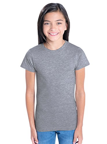LAT Apparel Girls 100% Cotton Fine Jersey Tee with Ribbed Co