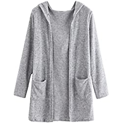 Open Front Knit Long Cardigan Sweater With Pockets