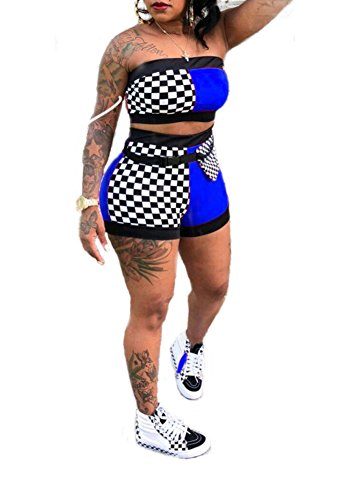 (Remelon Women Sexy Plaid Print Tube Crop Top Belt Shorts Set 2 Piece Outfits Romper Jumpsuits Blue XXL)