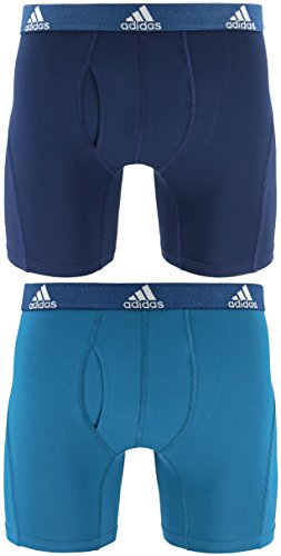(adidas Men's Relaxed Performance Climalite Boxer Brief Underwear (2-Pack), Collegiate Navy Real Teal, Small)