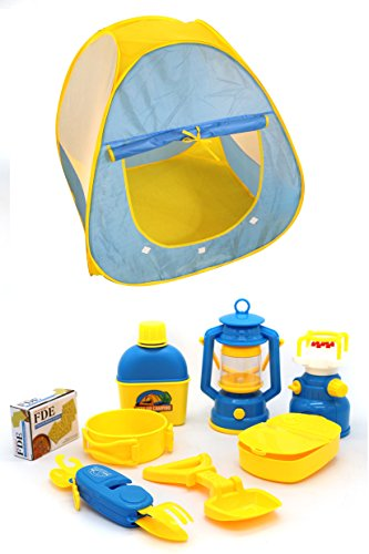 Little Treasures Camping Set for Kids Pretend Play Road Trip includes a tent, lantern, camp stove, water bottle, pan, biscuits, camp shovel, first aid kit & battery operated light with sound function