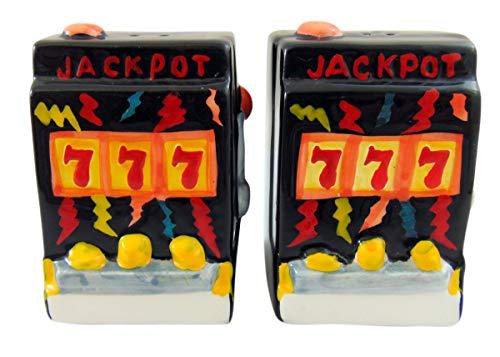 Slot Machine Salt and Pepper Shakers Ceramic Vegas Style Casino -