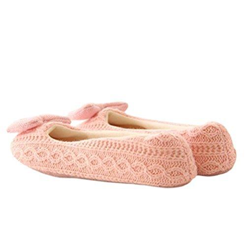 Fengzhicai Donne Calde Morbide Pantofole Da Casa Pavimento In Cotone Imbottito Scarpe Da Yoga Con Bowknot Rosa