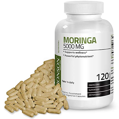 Bronson Moringa 5000 mg Extra High Potency Energizing Superfood Antioxidant, 120 Vegetarian Capsules