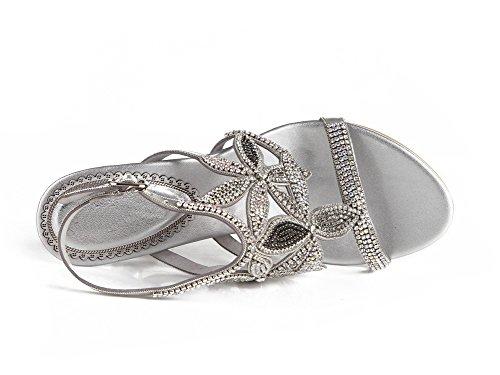 ZPL Mujer Señoras Fiesta Diamante Noche Boda Nupcial Paseo Strappy Medio Tacón Sandalias Silver