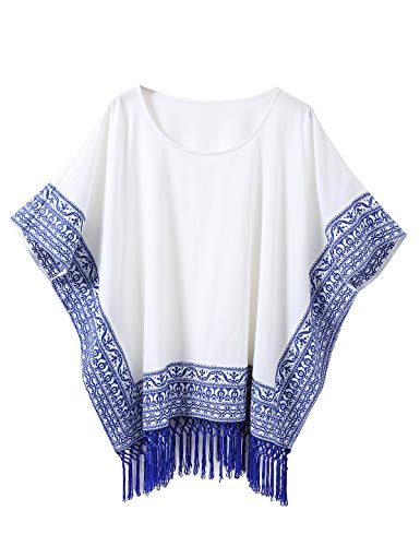 Escalier Women's Plus Size Tunic Tops Hand Embroidered Porcelain Print Tassel Casual Summer Cotton Dolman T Shirts White