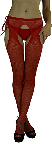 ToBeInStyle Women's Sheer Pantyhose with Fishnet Suspender and Tie Bow - Red