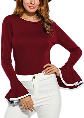 Women's Long Bell Sleeve Blouse Loose Trumpet T-Shirt Casual Solid Flare Tops (XL=US 8-10, Wine Red) ()