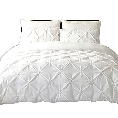 Pinch Pleat King Duvet Cover Set, Arachnes Needle 3 Pieces Unique Pintuck Brushed Microfiber White Bedding Set With Zipper and Corner Ties for Decor Bedding Room Style (Pinch Pleat Duvet Cover King)