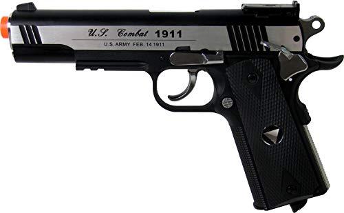 WinGun WG Pistola de combate especial 1911 CO2 Blowback Airsoft Gun Plata y negro