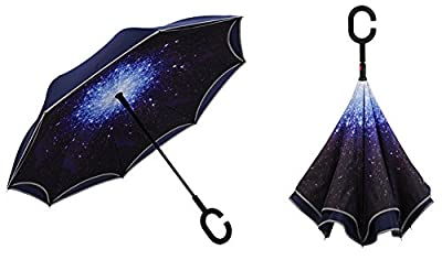 Travel Ease Inverted Umbrella with Light Reflection Strip, Double Layer Car Reverse Umbrella, Auto-Open Self-Standing Umbrella with C-Shape Handle Plus Carrying Bag for Free Hands