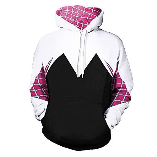 Newdong Adult Spider-Verse Spider-Gwen Hoodie Pullover Sweatshirt Cosplay Costume