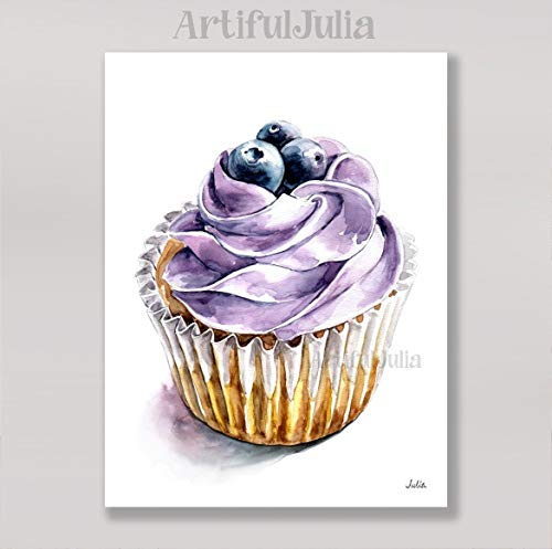 Blueberry cupcake art print of watercolor painting(NO FRAME), 5