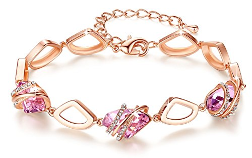 "Leafael [Presented by Miss New York Wish Stone Made with Swarovski Crystals Focal Shape 18K Rose Gold Plated Pink Bracelet, 7""+2"", Nickel/Lead/Allerg"