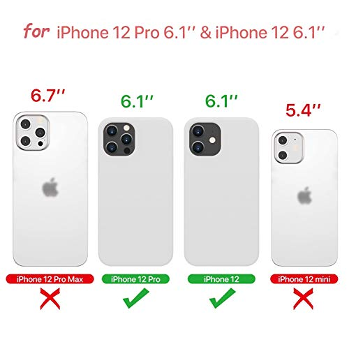Silicone Case Compatible with iPhone 12/12 Pro - 6.1 inch Cell Phone Full Body Protection Cover with Microfiber Lining,Shockproof Drop Protection Case,Included a Tempered Glass Film as Gift (White)