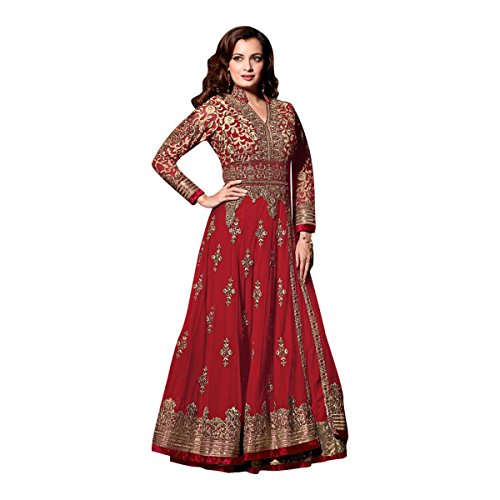 Black Friday Sale velvet Wedding Wear Salwar Suit Lehenga Dress Kaftan Women Muslim Ethnic Traditional 623 (Red) by ETHNIC EMPORIUM
