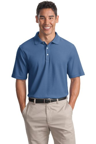 (Cotton Pique Knit Sport Shirt, Color: Moonlight Blue, Size: X-Small)
