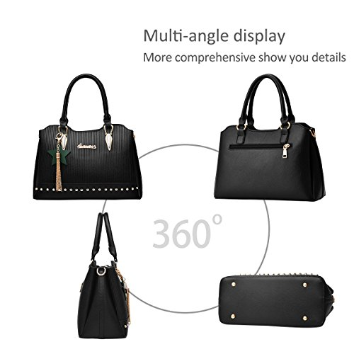 Crossbody NICOLE Green Shoulder Black Bag Handbags Tote Girls Handle amp;DORIS Women PU tassel Purse Top Leather Bag Aqw0pBA