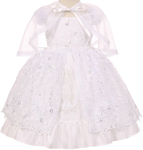 [Christening Girls Set Virgin Mary Embroidered with Bolero & Headband Baptism Dress White 3 BT.56.TK] (Bt Kids Overalls)